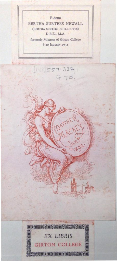 Dame Bertha Phillpotts' bookplate