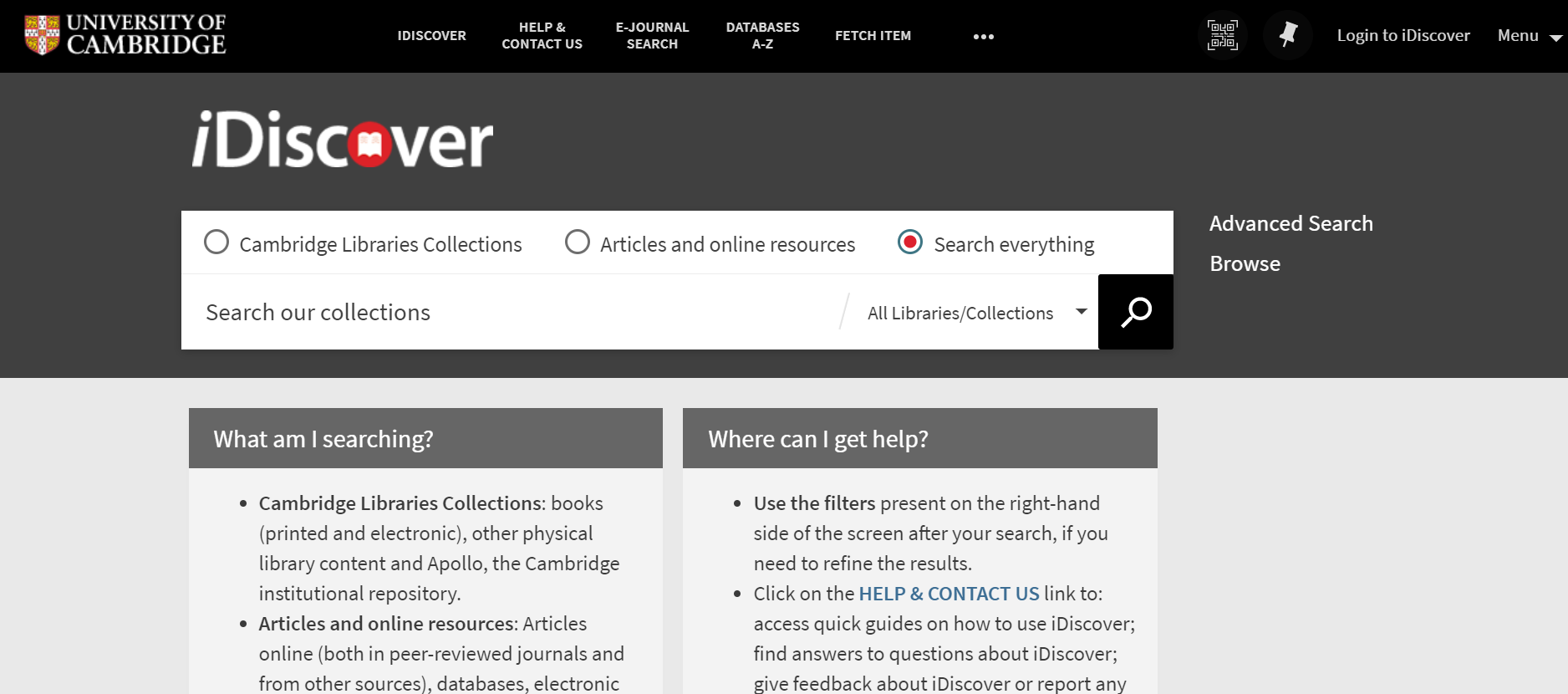 The iDiscover homepage. The 'Search Everything' option is above the search bar, on the right-hand side.