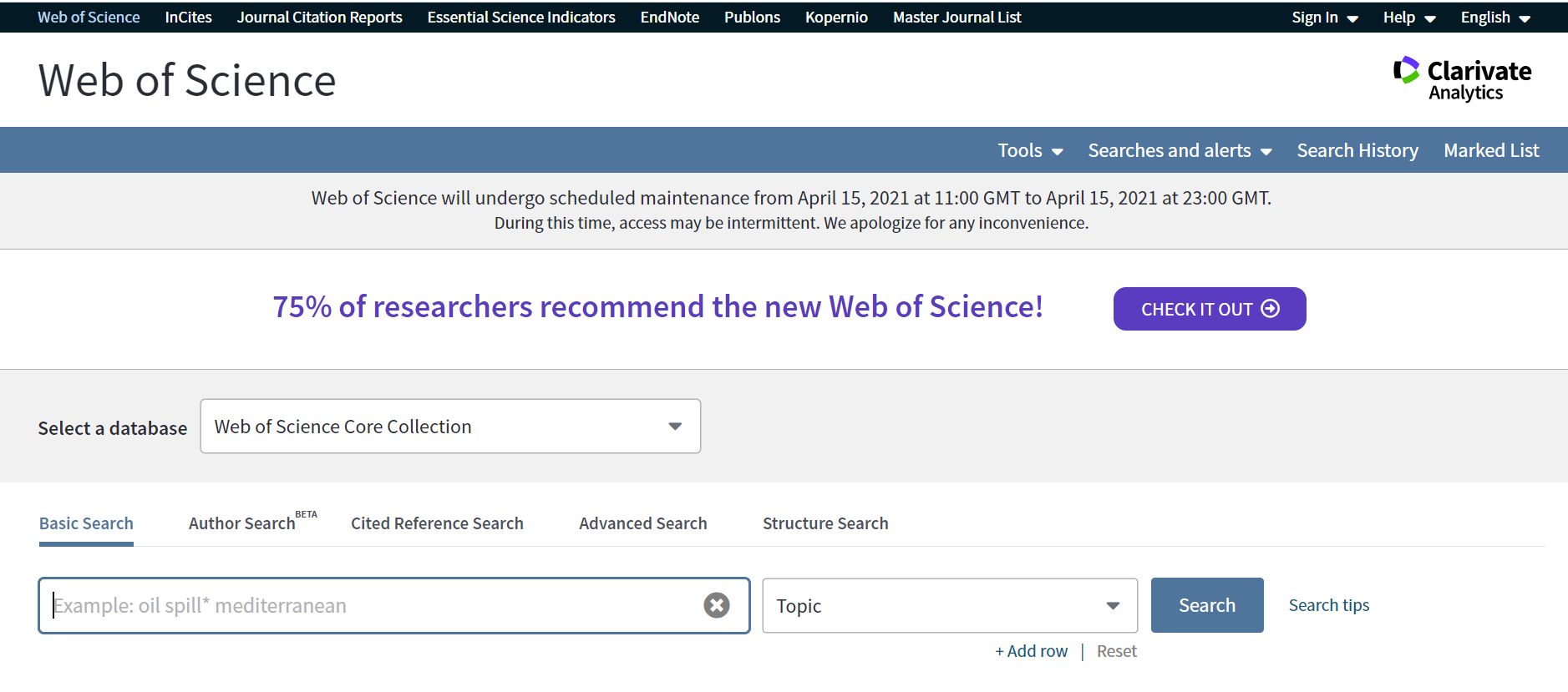The Web of Science webpage