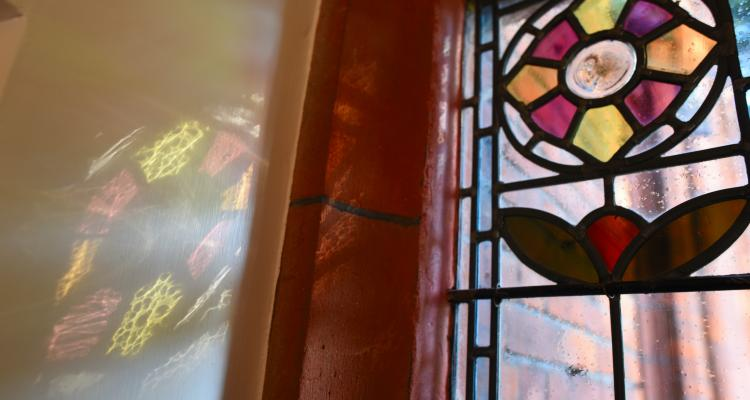 reflections of the stained glass window