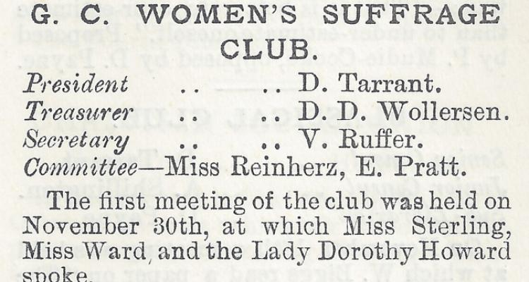 Report on the first meeting on the Girton College Suffrage Club