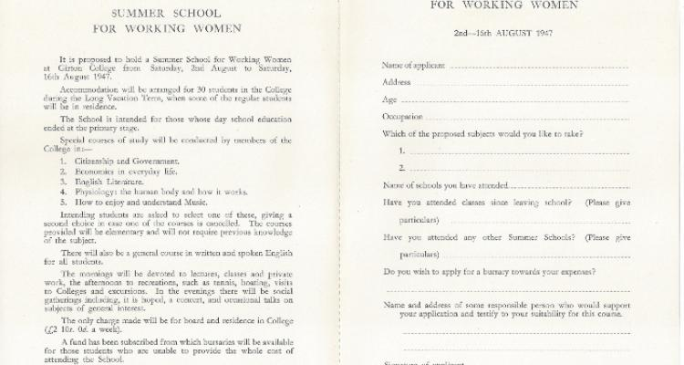 Printed prospectus for the 1947 Working Women's Summer Schooltyyyyyyyyyyyyyyyyyyyyyyyy