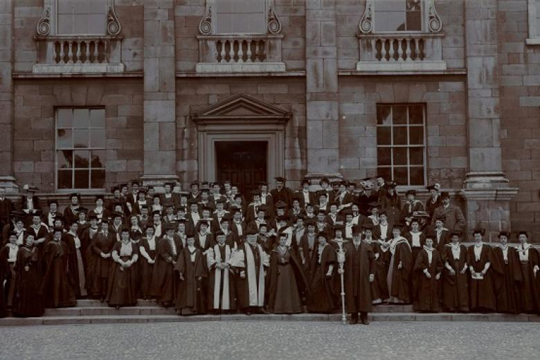 Former students of Girton and Newnham collecting degrees at Trinity College Dublin, taken by Lafayette, Dublin, circa 1904-1906 (archive reference: GCPH 13/52)