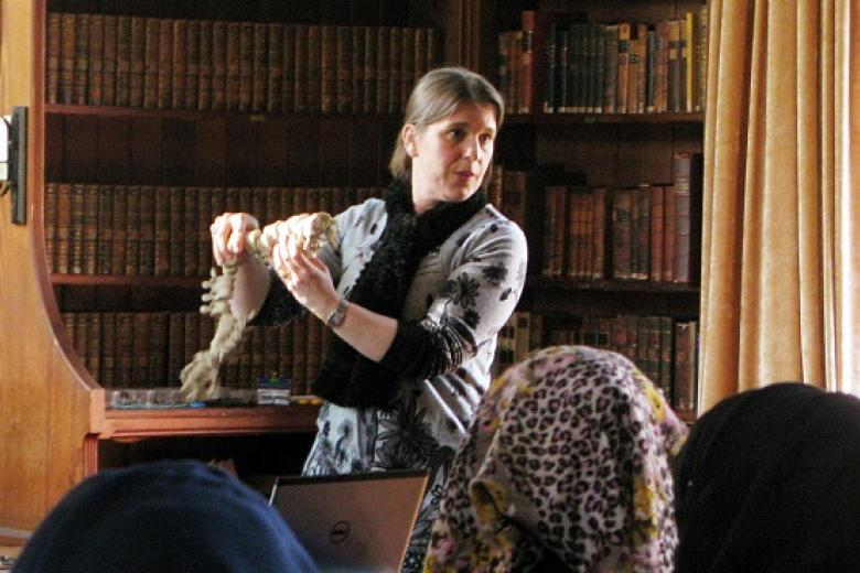 Dr Sarah Fawcett leading the Medicine masterclass in the Stanley Library, 2014