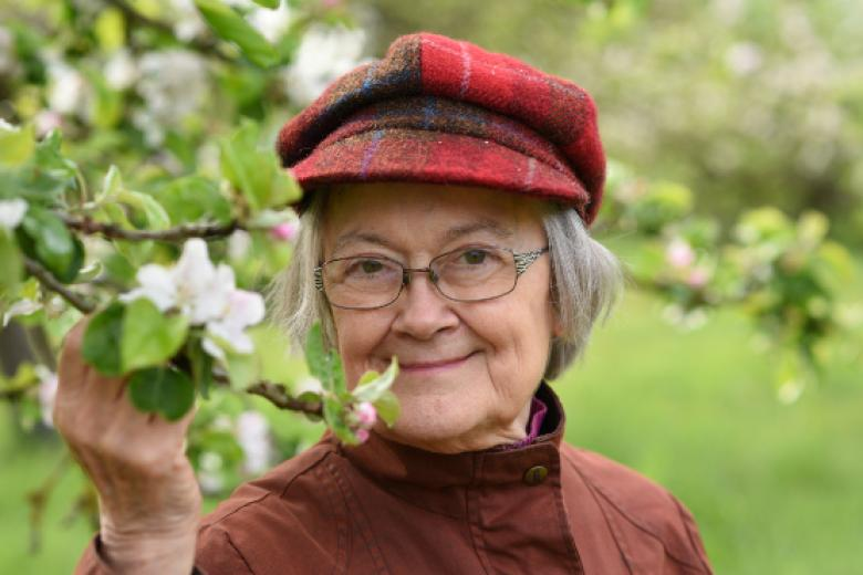 Lady Hale in the College Orchard on 2 May 2019