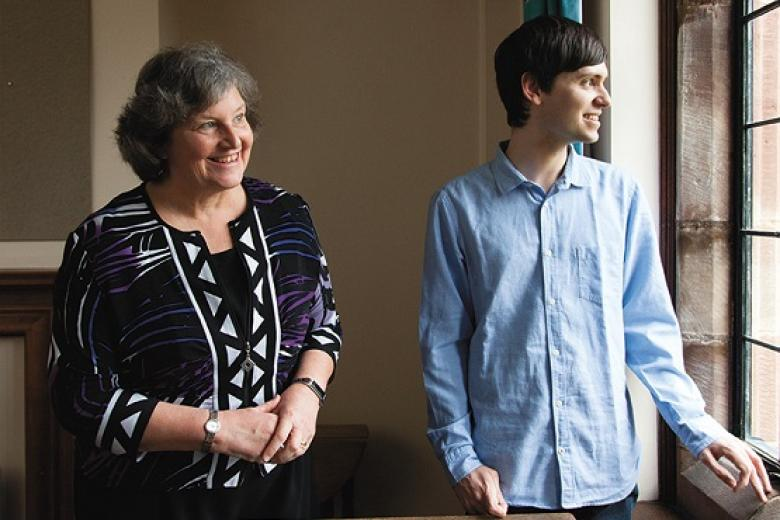 Ann Dowling (1970, Mathematics) in her former undergraduate room (F35) with the current undergraduate occupant. Photograph credit: Alastair Levy (2018)