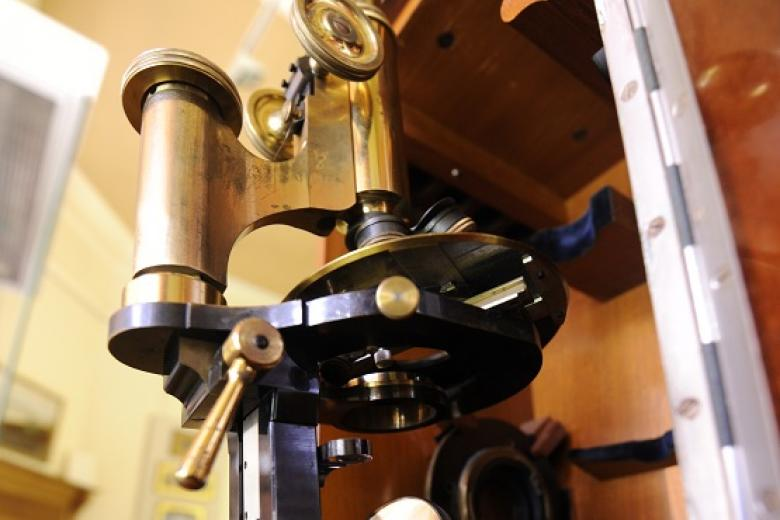 Ethel Sargant's microscope now located in the Lawrence Room, the College museum.