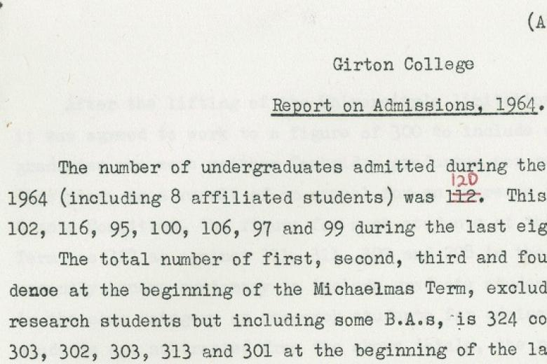 Extract from Marjorie Docking's first report as the newly appointed Admissions Secretary, 1964 (archive reference: GCAC 1/1/1)