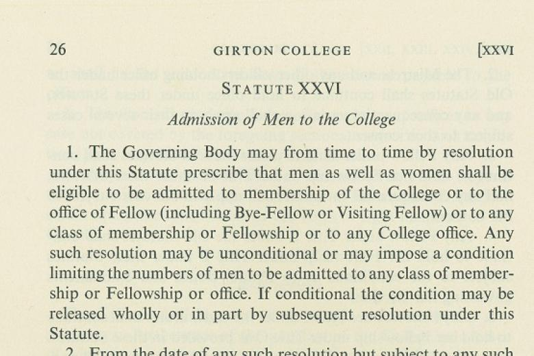 Statute XXVI Admission of Men to the College (archive reference: GCGB 1/2/2 pt)