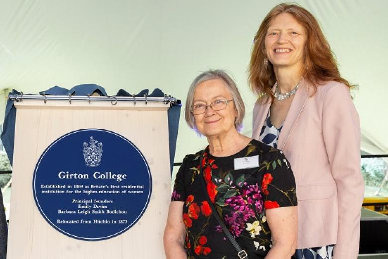 The College Visitor, Lady Hale and The Mistress, Professor Susan J. Smith, unveiling the new blue plaque (2019)