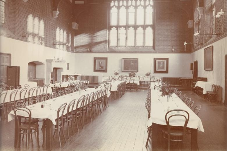 The Dining Hall, looking towards High Table, circa 1902 (archive reference: GCPH 8/2/1)