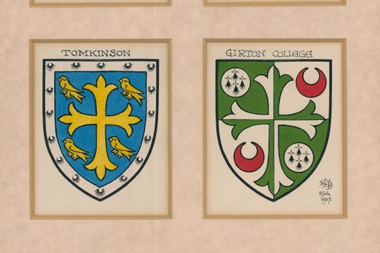 The Girton key shields painted by Rev E E Dorling as used in the coat of arms designed by him, 1927 (archive reference: GCRF 6/1/26)