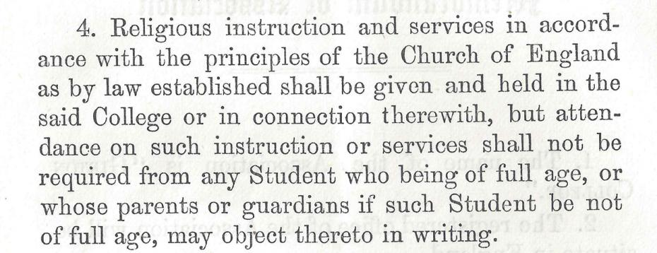Religious instruction and services, from the 'Memorandum of Articles of Association and Bye-Laws', 1872 (archive reference: GCPP Davies 15/2/9).