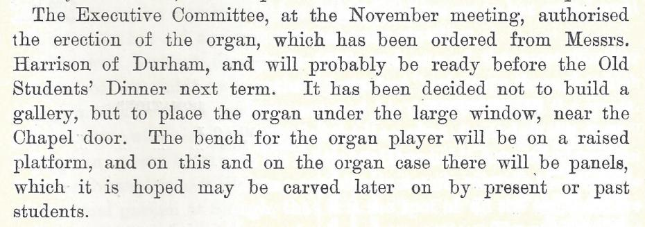 Report on the new organ, from the Girton Review, Michaelmas Term 1909 (archive reference: GCCP 2/1/1).