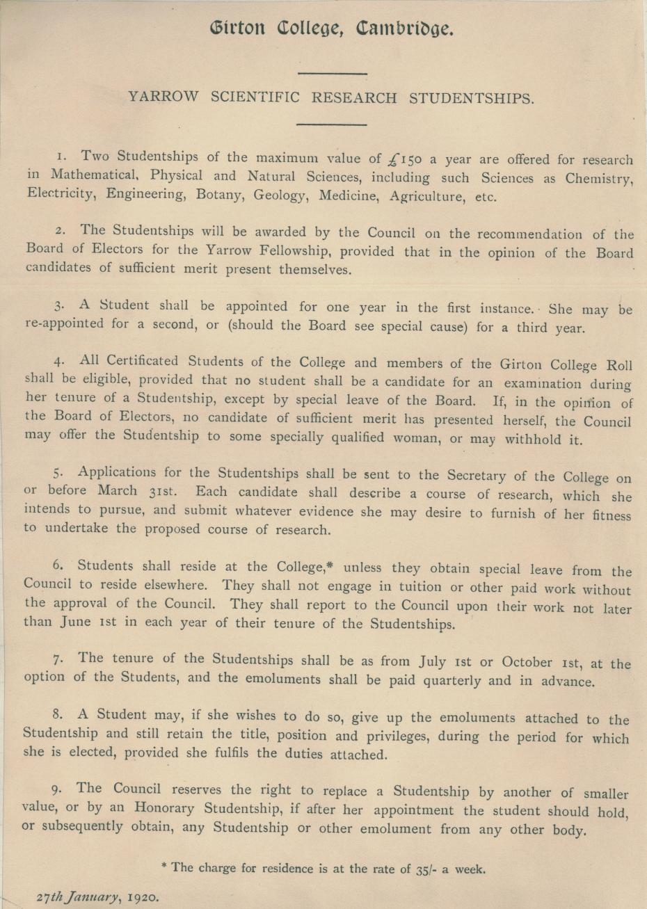 Yarrow Scientific Research Studentship, insert from the College Council minutes, 27 Jan 1920 (archive reference: GCGB 2/1/22pt)