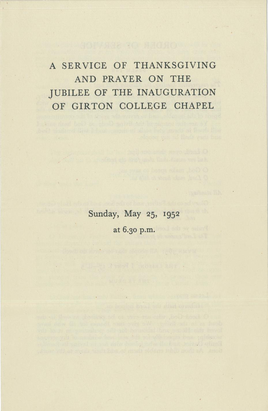 Order of service for the jubilee of the inauguration of the College Chapel, 25 May 1952 (archive reference: GCAR 6/4/3).