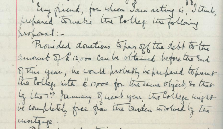 The anonymous offer, from the College Council minutes, 20 May 1913 (archive reference: GCGB 2/1/20pt).