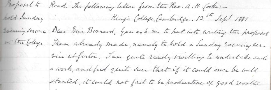 Rev Alfred Cooke's suggestion for Sunday evening services to be held at Girton, from the Executive Committee minutes, 7 October 1881 (archive reference: GCGB 2/1/7).
