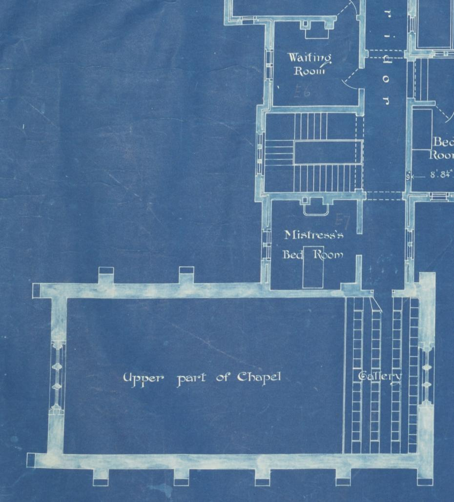 Blue print plan for the Chapel, showing the proposed first floor gallery and its entrance, by Alfred Waterhouse & Son, 1900 (archive reference: GCAR 2/3a/2/5/2/1).