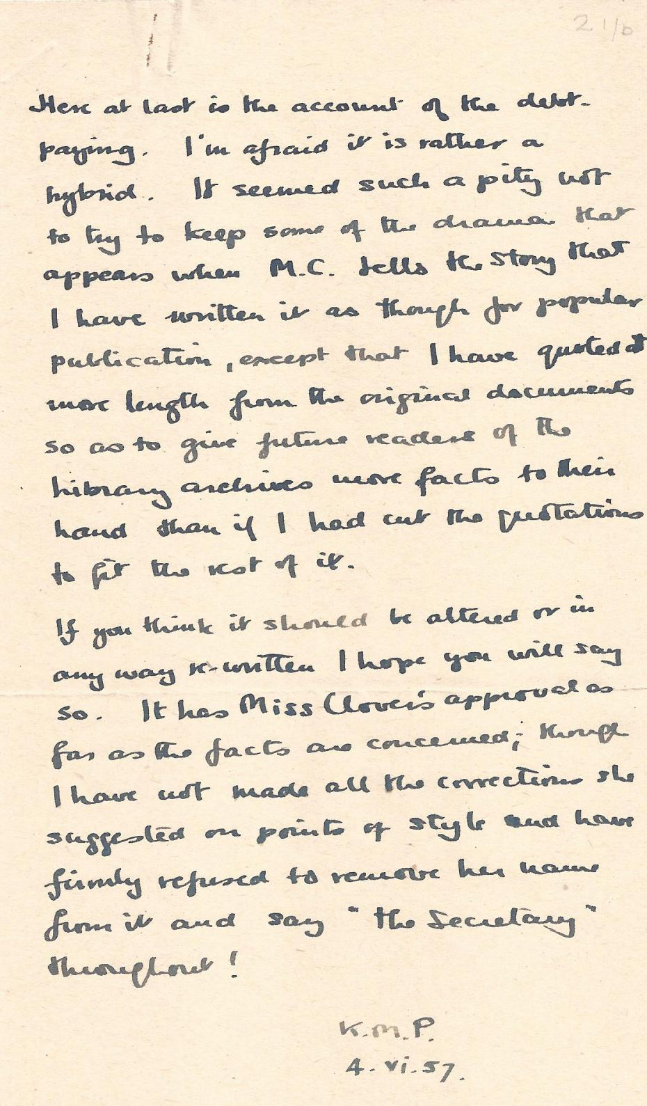 A note written by Kathleen Peace explaining how she wanted to 'keep some of the drama', 1957 (archive reference: GCAR 2/6/12pt).