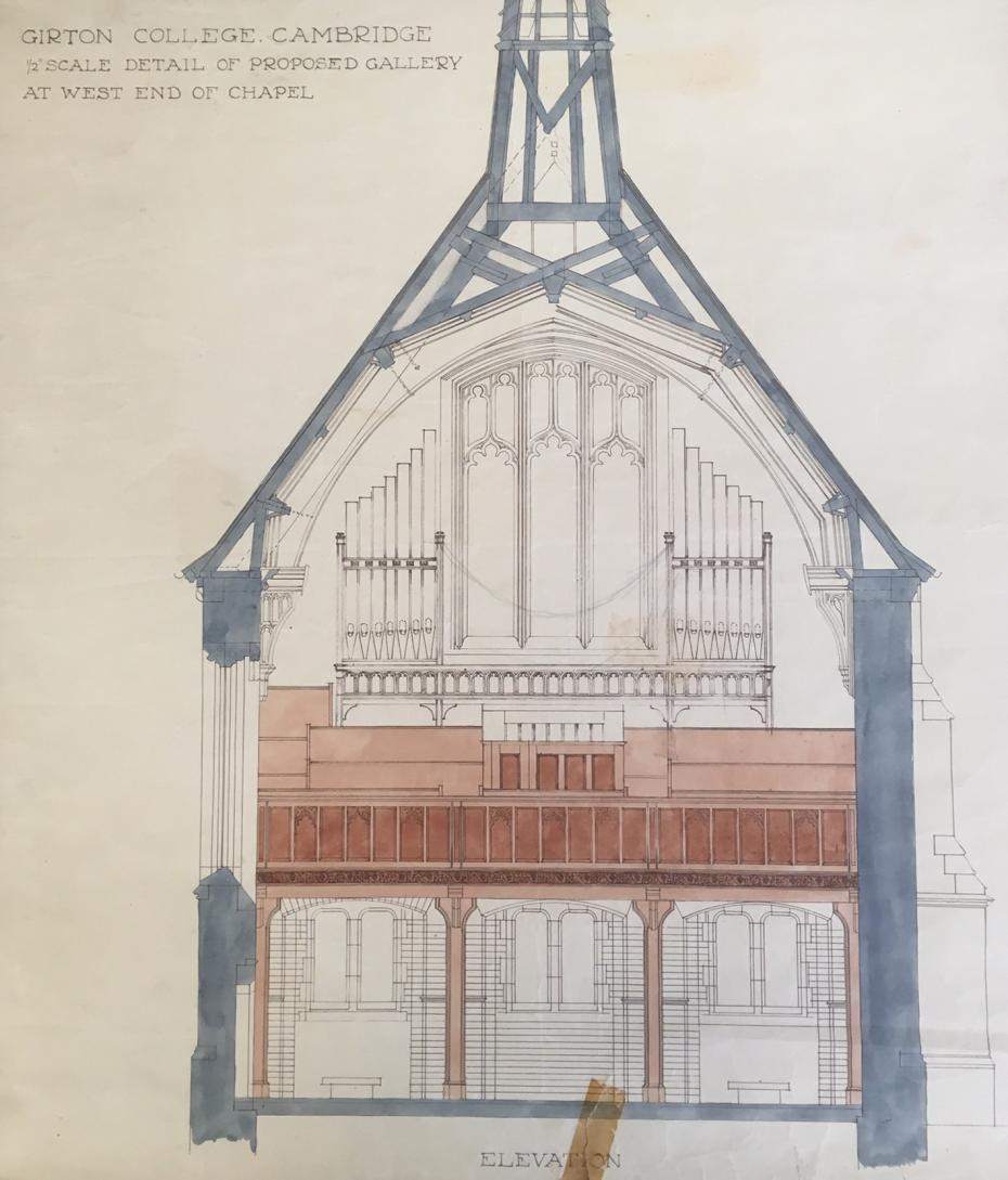 Drawing of a proposed gallery to house a new organ, which was to have a staircase connecting it to the north-east corner of the Chapel, by Paul Waterhouse, 1909 (archive reference: GCAR 2/3a/2/5/2/2).