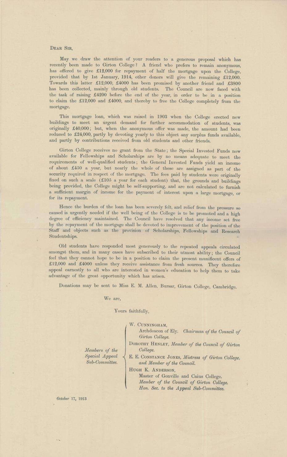 Appeal letter to the national newspapers, from the College Council minutes 14 October 1913 (archive reference: GCGB 2/1/20pt)