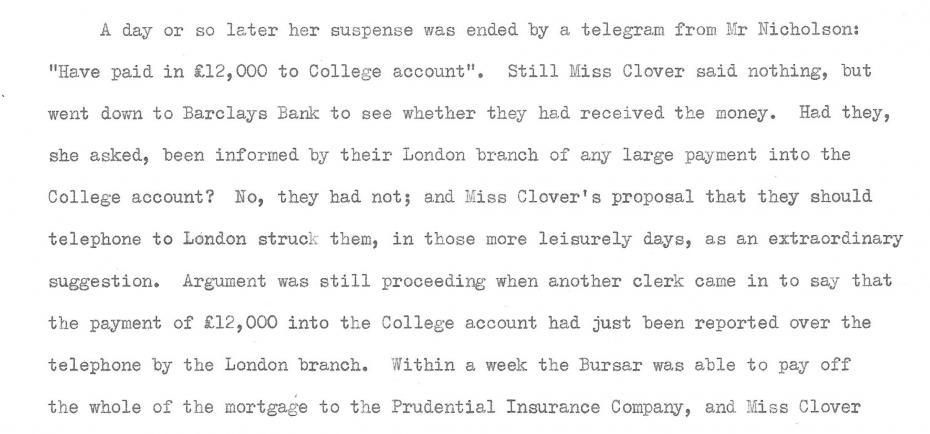Mary Clover's account of obtaining the money, recorded by Kathleen Peace, 1957 (archive reference: GCAR 2/6/12pt).