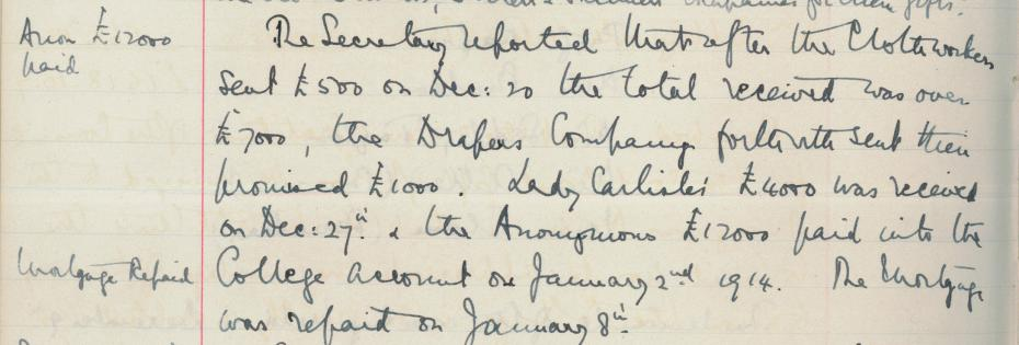 Image 9:  The College mortgage was paid off on 8 January 1914, from the College Council minutes, 3 Feb 1914 (archive reference: GCGB 2/1/20pt).