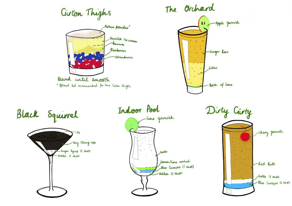 sketches of the Garden Party themed beverages