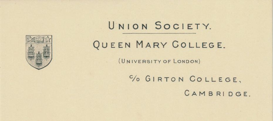 Queen Mary College, Union Society headed note paper, 1939–1940 (archive reference: GCPP Blacklocks 2)